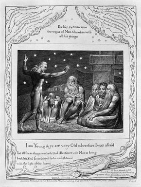 William Blake (British, 1757-1827). I Am Young & Ye Are Very Old Wherefore I Was Afraid, from Illustrations of the Book of Job, 1825. Engraving, 8 5/16 x 6 7/16 in. (21.1 x 16.3 cm). Brooklyn Museum, Bequest of Mary Hayward Weir, 69.4.1m