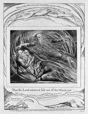 William Blake (British, 1757-1827). Then the Lord Answered Job out of the Whirlwind, from Illustrations of the Book of Job, 1825. Engraving, 8 5/16 x 6 7/16 in. (21.1 x 16.3 cm). Brooklyn Museum, Bequest of Mary Hayward Weir, 69.4.1n