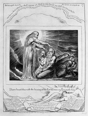 William Blake (British, 1757-1827). I Have Heard Thee with the Hearing of the Ear but Now My Eyes Seeth Thee, from Illustrations of the Book of Job, 1825. Engraving, 8 5/16 x 6 7/16 in. (21.1 x 16.3 cm). Brooklyn Museum, Bequest of Mary Hayward Weir, 69.4.1r