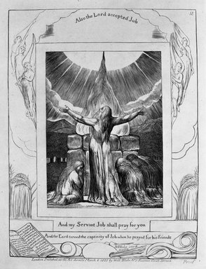 William Blake (British, 1757-1827). And My Servant Job Shall Pray for You, from Illustrations of the Book of Job, 1825. Engraving, 8 5/16 x 6 7/16 in. (21.1 x 16.3 cm). Brooklyn Museum, Bequest of Mary Hayward Weir, 69.4.1s