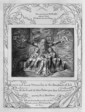 William Blake (British, 1757-1827). There were not Found Women as Fair as the Daughters of Job in All the Land...(etc,), from Illustrations of the Book of Job, 1825. Engraving, 8 5/16 x 6 7/16 in. (21.1 x 16.3 cm). Brooklyn Museum, Bequest of Mary Hayward Weir, 69.4.1u