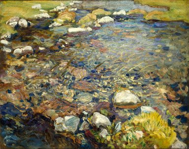 John Singer Sargent (American, 1856-1925). Val d'Aosta (A Stream over Rocks; Stream in Val d'Aosta), ca. 1907-1908. Oil on canvas, 21 5/8 x 27 1/2 in. (54.9 x 69.9 cm). Brooklyn Museum, A. Augustus Healy Fund, 69.52