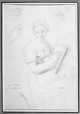 Daniel Huntington (American, 1816-1906). Woman Holding Book, ca. 1839-58. Graphite on paper, Sheet: 10 9/16 x 7 3/16 in. (26.8 x 18.3 cm). Brooklyn Museum, Dick S. Ramsay Fund, 69.62.1