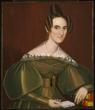 Ammi Phillips (American, 1788-1865). Jeannette Woolley, later Mrs. John Vincent Storm, ca. 1838. Oil on canvas, 33 x 27 15/16 in. (83.8 x 71 cm). Brooklyn Museum, Gift of Mrs. Waldo Hutchins, Jr., 69.7