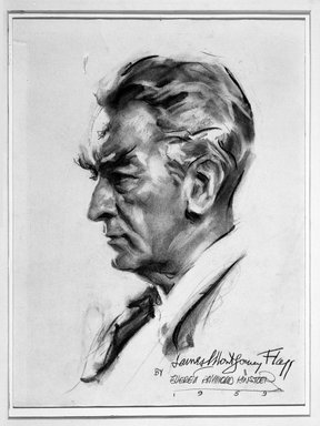 Everett Raymond Kinstler. James Montgomery Flagg, 1959. Charcoal on paper, 14 1/2 x 7 in. (36.8 x 17.8 cm). Brooklyn Museum, Gift of the artist, 69.87.1. © Everett Raymond Kinstler