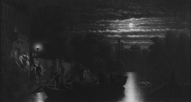 Johann Mengels Culverhouse (American, born Holland, 1820-1895). Moonlight Boating Party, 1876. Oil on canvas, 27 7/16 x 50 13/16 in. (69.7 x 129.1 cm). Brooklyn Museum, Dick S. Ramsay Fund, 70.101.2