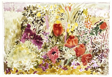 Nell Blaine (American, 1922-1996). Oriental Poppies I, 1969. Watercolor on paper, 14 x 20 in. (35.6 x 50.8 cm). Brooklyn Museum, Dick S. Ramsay Fund, 70.104. © Nell Blaine