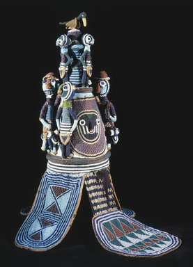 Brooklyn Museum: Beaded Crown (Ade) of Onijagbo Obasoro Alowolodu, Ogoga of Ikere 1890-1928