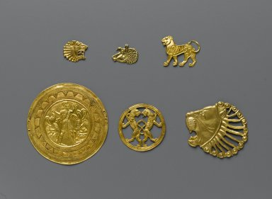 Bracteate, 6th - 5th century B.C.E. Gold, 13/16 x 1/16 x 7/8 in. (2 x 0.2 x 2.3 cm). Brooklyn Museum, Gift of Mr. and Mrs. Alastair Bradley Martin, 70.142.7. Creative Commons-BY