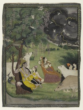 Indian. Krishna and Radha under a Tree in a Storm, ca. 1790-early 19th century. Opaque watercolor and gold on paper, sheet: 9 x 6 3/4 in.  (22.9 x 17.1 cm). Brooklyn Museum, Ella C. Woodward Memorial Fund, 70.145.1