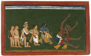 "Indian. Rama Kicks the Body of Dundubhi, page from an illustrated manuscript of the Ramayana (the ""Shangri"" Ramayana), ca. 1700-1710. Opaque watercolor, silver, and gold on paper, sheet: 8 5/8 x 13 7/8 in.  (21.9 x 35.2 cm). Brooklyn Museum, Ella C. Woodward Memorial Fund, 70.145.2"