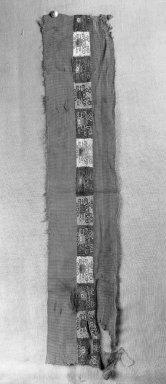 Coastal Wari (attrib by Nobuko Kajatani, 1993). Mantle, Fragment or Mantle, Border, Fragment, 600-1000 C.E. Cotton, camelid fiber, 5 1/2 x 26in. (14 x 66cm). Brooklyn Museum, Gift of Ernest Erickson, 70.177.13. Creative Commons-BY