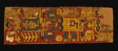 Nasca. Mantle, Fragment, 200-600 C.E. Cotton, camelid fiber, 5 1/2 x 16 9/16 in. (14 x 42 cm). Brooklyn Museum, Gift of Ernest Erickson, 70.177.51. Creative Commons-BY