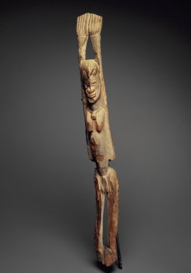 Dogon. Standing Figure with Arms Raised, 15th to 17th centuries. Wood, accumulated materials, 30 1/2 x 3 1/4 x 4 3/4 in. (77.4 x 8.3 x 12.1 cm). Brooklyn Museum, Gift of Lester Wunderman, 70.178.5. Creative Commons-BY