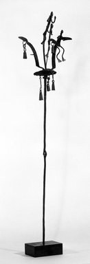 Dogon. Staff Surmounted by Three Nommo Figures and 6 Bells, late 19th-early 20th century. Wrought iron, 39 x 8 1/2 x 9 1/2 in. (99.0 x 21.6 x 24.1 cm). Brooklyn Museum, Gift of Lester Wunderman, 70.178.6. Creative Commons-BY
