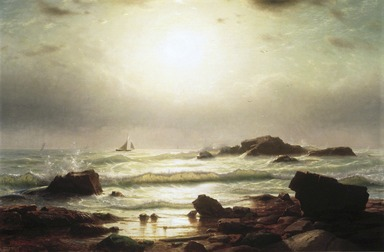 William Stanley Haseltine (American, 1835-1900). Sail Boats Off a Rocky Coast, 1864. Oil on canvas, 23 7/8 x 36 1/8 in. (60.7 x 91.8 cm). Brooklyn Museum, Dick S. Ramsay Fund, 70.27
