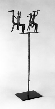 Bamana. Staff with Equestrian Figures, late 19th-early 20th century. Wrought iron, 19 1/2 x 8 x 1 3/4 in. (without attached metal base). Brooklyn Museum, Gift of Elliot Picket, 70.72.5. Creative Commons-BY