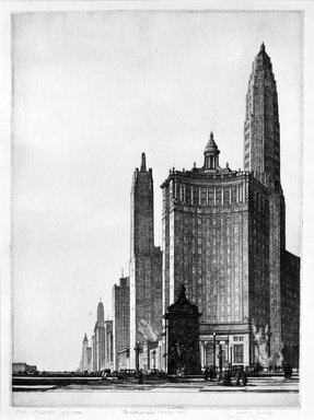 Gerald K. Geerlings (American, 1897-1998). The Vertical Mile, 1932. Etching, Plate: 12 1/8 x 9 in. (30.8 x 22.9 cm). Brooklyn Museum, Gift in memory of Clarence John Marsman, 70.75.34