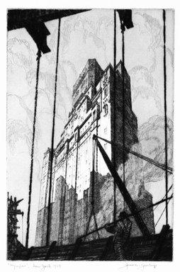 Gerald K. Geerlings (American, 1897-1998). Olympus  (New York), 1929. Drypoint on wove paper, 8 7/8 x 5 7/8 in.  (22.5 x 14.9 cm). Brooklyn Museum, Gift in memory of Clarence John Marsman, 70.75.5