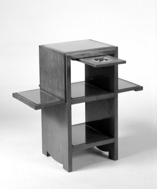 Smoker's Stand, ca. 1930. Palisander veneer over hardwood, 24 x 25 1/4 x 12 in. (61 x 64.1 x 30.5 cm). Brooklyn Museum, Gift of Raymond Worgelt, 70.96.10a-c. Creative Commons-BY