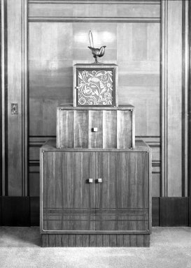 Radio Cabinet, ca. 1930's - additions made in 1940's. Veneered hardwood - palisander and olive, brass., 36 1/4 x 39 3/4 x 22 1/2 in. (92.1 x 101 x 57.2 cm). Brooklyn Museum, Gift of Raymond Worgelt, 70.96.11. Creative Commons-BY