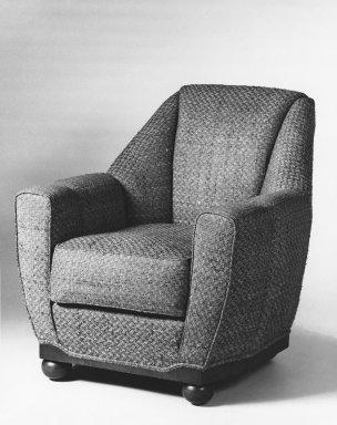 Armchair, One of Pair, ca. 1930. Upholstery, hardwood veneered in palisander, 37 1/2 x 33 1/2 x 36 in. (95.3 x 85.1 x 91.4 cm). Brooklyn Museum, Gift of Raymond Worgelt, 70.96.2. Creative Commons-BY