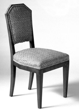 Sidechair, One of Pair, ca. 1930. Hardwood veneered in palisander, woven patterned cotton, 34 1/2 x 17 1/4 x 21 in. (87.6 x 43.8 x 53.3 cm). Brooklyn Museum, Gift of Raymond Worgelt, 70.96.6. Creative Commons-BY