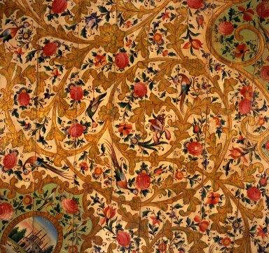 Section of a Ceiling from the Narinjistan Mansion, ca. 1870. Polychrome and metallic pigments on wood, from Curatorial catalogue card: 46 1/2 x 59 in. (118.1 x 149.9 cm). Brooklyn Museum, Carll H. de Silver Fund, 70.97.4a. Creative Commons-BY