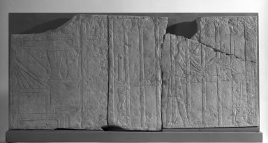 Relief with a Servant Making theTomb Owner's Bed, ca. 2350-2170 B.C.E. Limestone, 17 x 1 3/16 x 36 3/4 in. (43.2 x 3 x 93.3 cm). Brooklyn Museum, Charles Edwin Wilbour Fund, 71.10.1a-d. Creative Commons-BY