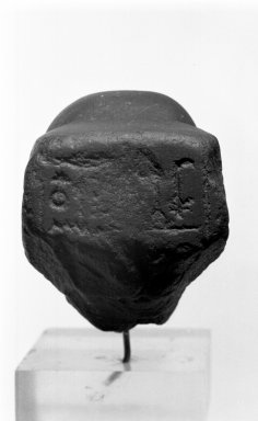 Male Head with Recut Face, 4th century B.C.E. and modern times. Basalt, 3 9/16 x 2 11/16 x 3 3/4 in. (9 x 6.9 x 9.5 cm). Brooklyn Museum, Charles Edwin Wilbour Fund, 71.10.2. Creative Commons-BY