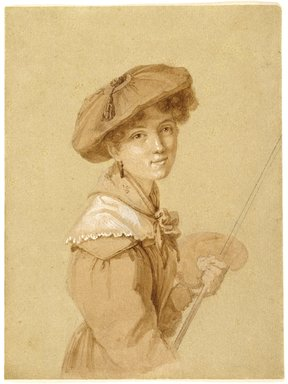 Attributed to Eugénie Tripier-Le-Franc (French, 1805-1872). Portrait of Eugénie Tripier-Le-Franc (Portrait d'Eugénie Tripier-Le-Franc), or Self-Portrait, 1820-1829. Graphite, sepia, gouache on paper, 6 3/4 x 5in. (17.1 x 12.7cm). Brooklyn Museum, Gift of Louis Thomas, 71.138.10