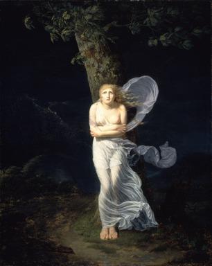 Chevalier Féréol de Bonnemaison (French, ca. 1770-1827). Young Woman Overtaken by a Storm (Une Jeune Femme s'étant Avancée dans la Campagne se Trouve Surprise par l'orage), 1799. Oil on canvas, 39 3/8 x 31 11/16 in. (100 x 80.5 cm). Brooklyn Museum, Gift of Louis Thomas, 71.138.1