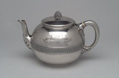 Tiffany & Company (American, founded 1853). Tea Pot, ca. 1868. Silver, bone or ivory, 6 x 9 3/8 x 6 in. (15.2 x 23.8 x 15.2 cm). Brooklyn Museum, Gift of Eleanor Keveney in memory of Clarence A. Pratt, 71.144.2. Creative Commons-BY