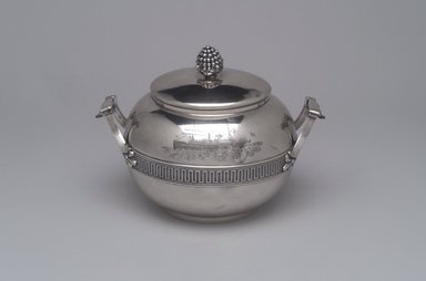 Tiffany & Company (American, founded 1853). Sugar Bowl with Cover, ca. 1868. Silver, 5 x 7 1/4 x 5 3/8 in. (12.7 x 18.4 x 13.7 cm). Brooklyn Museum, Gift of Eleanor Keveney in memory of Clarence A. Pratt, 71.144.3a-b. Creative Commons-BY