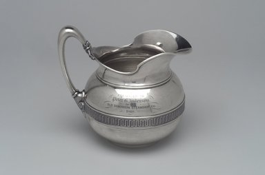 Tiffany & Company (American, founded 1853). Cream Pitcher, ca. 1868. Silver, 5 3/4 x 5 3/8 x 4 in. (14.6 x 13.7 x 10.2 cm). Brooklyn Museum, Gift of Eleanor Keveney in memory of Clarence A. Pratt, 71.144.5. Creative Commons-BY