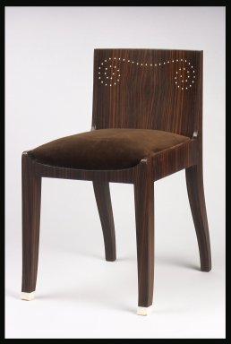 Emile-Jacques Ruhlmann (French, 1879-1933). Side Chair and Slip Seat, 1 of 4, ca. 1923. Macassar ebony veneer with ivory inlay, 26 11/16 x 15 x 16 7/8 in. (67.8 x 38.1 x 42.9 cm). Brooklyn Museum, Purchased with funds given by Joseph F. McCrindle, Mrs. Richard M. Palmer, Charles C. Paterson, Raymond Worgelt, and an anonymous donor, 71.150.10a-b. Creative Commons-BY