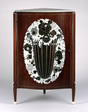 Emile-Jacques Ruhlmann (French, 1879-1933). Corner Cabinet, ca. 1923. Kingwood (amaranth) veneer on mahogany, ivory inlay, 49 7/8 x 31 3/4 x 23 1/2 in. (126.7 x 80.6 x 59.7 cm). Brooklyn Museum, Purchased with funds given by Joseph F. McCrindle, Mrs. Richard M. Palmer, Charles C. Paterson, Raymond Worgelt, and an anonymous donor, 71.150.1. Creative Commons-BY