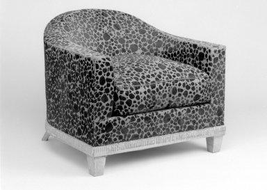 Emile-Jacques Ruhlmann (French, 1879-1933). Upholstered Armchair with Seat Cusion, One of Pair, 1923. Lame woven with velvet, 25 1/2 x 30 x 30 3/4 in. (64.8 x 76.2 x 78.1 cm). Brooklyn Museum, Purchased with funds given by Joseph F. McCrindle, Mrs. Richard M. Palmer, Charles C. Paterson, Raymond Worgelt, and an anonymous donor, 71.150.4a-b. Creative Commons-BY