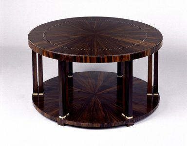 Emile-Jacques Ruhlmann (French, 1879-1933). Table, ca. 1923. Macassar ebony veneer with ivory inlay on mahogany, 14 3/4 x 31 3/8 x 31 3/8 in., 36.5 lb. (37.5 x 79.7 x 79.7 cm, 16.56kg). Brooklyn Museum, Purchased with funds given by Joseph F. McCrindle, Mrs. Richard M. Palmer, Charles C. Paterson, Raymond Worgelt, and an anonymous donor, 71.150.6. Creative Commons-BY