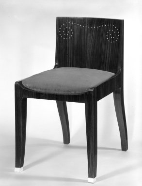 Emile-Jacques Ruhlmann (French, 1879-1933). Side Chair and Slip Seat, 1 of 4, ca. 1923. Macassar ebony veneer with ivory inlay, 26 11/16 x 15 x 16 7/8 in. (67.8 x 38.1 x 42.9 cm). Brooklyn Museum, Purchased with funds given by Joseph F. McCrindle, Mrs. Richard M. Palmer, Charles C. Paterson, Raymond Worgelt, and an anonymous donor, 71.150.7a-b. Creative Commons-BY