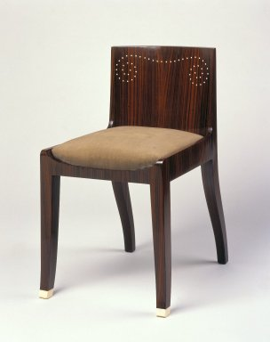 Emile-Jacques Ruhlmann (French, 1879-1933). Side Chair and Slip Seat, 1 of 4, ca. 1923. Macassar ebony veneer with ivory inlay, 26 11/16 x 15 x 16 7/8 in. (67.8 x 38.1 x 42.9 cm). Brooklyn Museum, Purchased with funds given by Joseph F. McCrindle, Mrs. Richard M. Palmer, Charles C. Paterson, Raymond Worgelt, and an anonymous donor, 71.150.8a-b. Creative Commons-BY