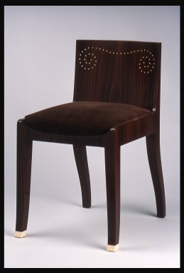 Emile-Jacques Ruhlmann (French, 1879-1933). Side Chair with Slip Seat, 1 of 4, ca. 1923. Macassar ebony veneer with ivory inlay, 26 11/16 x 16 7/8 x 15 in. (67.8 x 42.9 x 38.1 cm). Brooklyn Museum, Purchased with funds given by Joseph F. McCrindle, Mrs. Richard M. Palmer, Charles C. Paterson, Raymond Worgelt, and an anonymous donor, 71.150.9a-b. Creative Commons-BY