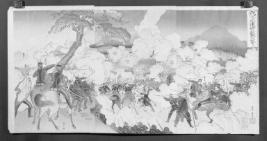 Adachi Ginko (active 1874-1897). Japanese Army Attacking the Castle Ku Rein near the Yobu River (Manchurian Campaign), 1894. Color on paper, Each Panel: 14 x 9 3/8 in. (35.6 x 23.8 cm). Brooklyn Museum, Gift of Mr. and Mrs. Tessim Zorach, 71.168.4