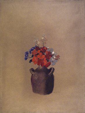 Odilon Redon (French, 1840-1916). Flowers in a Vase (Fleurs dans un vase), ca. 1909?. Pastel on tan paper, Sheet: 21 5/8 x 16 1/2 in. (54.9 x 41.9 cm). Brooklyn Museum, Anonymous gift, 71.171
