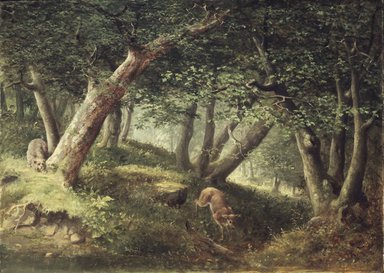 William Holbrook Beard (American, 1824-1900). In the Forest, 1856. Oil on canvas, 25 13/16 x 36 in. (65.6 x 91.4 cm). Brooklyn Museum, A. Augustus Healy Fund, 71.18