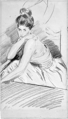 Paul-César Helleu (French, 1859-1927). Seated Woman. Red, black, and white chalk drawing, 17 x 9 7/8 in. (43.2 x 25.1 cm). Brooklyn Museum, Bequest of Julian Clarence Levi, 71.206.1