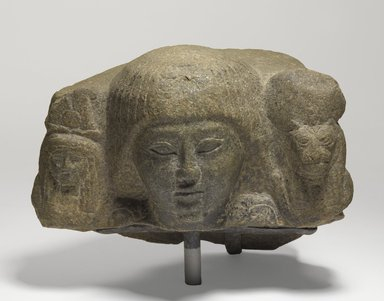Priest with Divine Standards, ca. 1295-1185 B.C.E. Stone, 5 1/2 x 7 5/16 x 4 1/8 in. (14 x 18.5 x 10.5 cm). Brooklyn Museum, Charles Edwin Wilbour Fund, 71.37.1. Creative Commons-BY