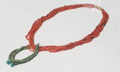 Navajo (Native American). 6-Strand Necklace, ca. 1920s. Coral, silver, turquoise, cloth, 15 1/2 in.  (39.4 cm). Brooklyn Museum, Gift of Marjorie Ruth Wagner, 71.57.1. Creative Commons-BY