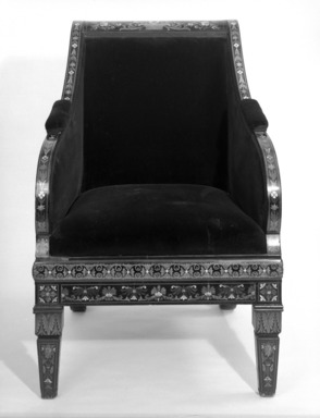 Armchair (Renaissance Revival style), ca. 1875. Ebony, various woods, ivory, mother-of-pearl, modern upholstery, 39 x 25 7/8 x 26 3/8 in. (99.1 x 65.7 x 67 cm). Brooklyn Museum, Gift of Mr. and Mrs. George N. Richard, 71.95. Creative Commons-BY