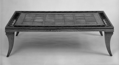 Coffee Table, ca. 1939. Wood, glazed earthenware, leather, 11 3/8 x 41 1/2 x 25 3/8 in. (28.9 x 105.4 x 64.5 cm). Brooklyn Museum, Gift of Hollis K. Thayer, 71.96. Creative Commons-BY
